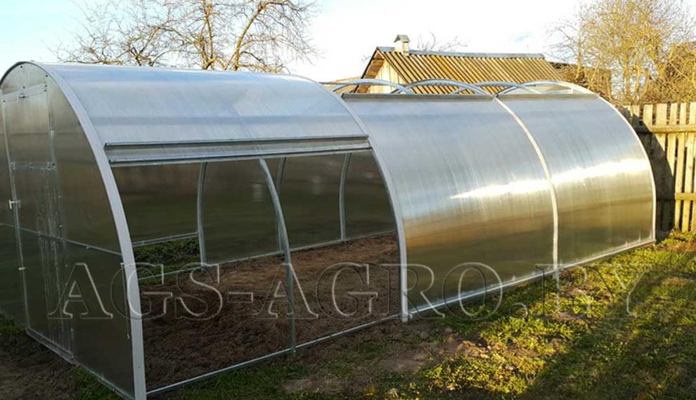 Теплицы из поликарбоната со сдвижной крышей 14